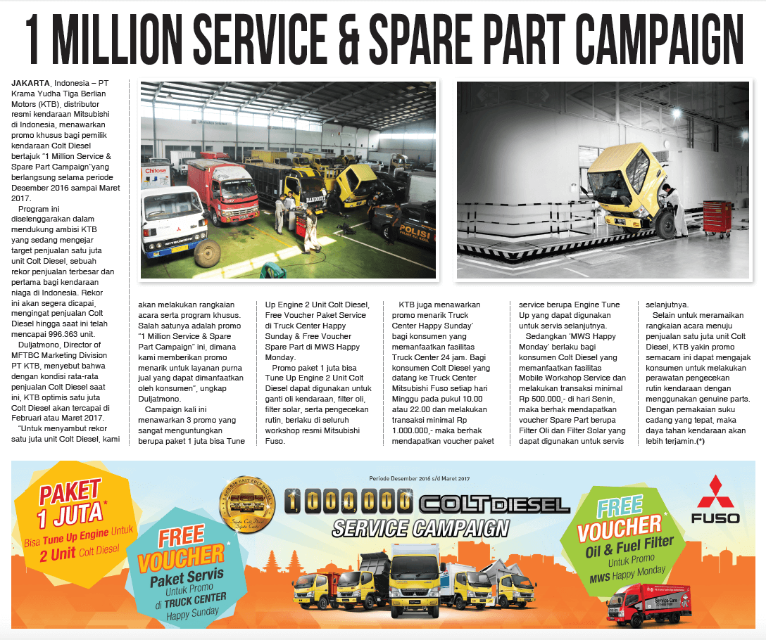 1 Million Service and Spare Part Campaign
